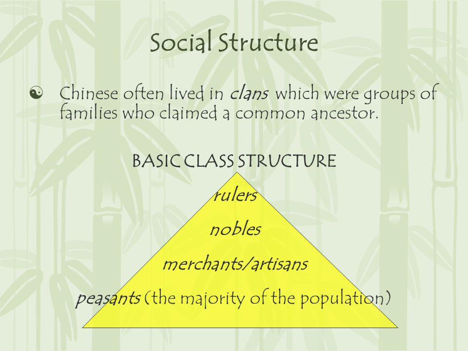 Social Structure  Chinese often lived in clans which were groups of families who claimed a common ancestor.