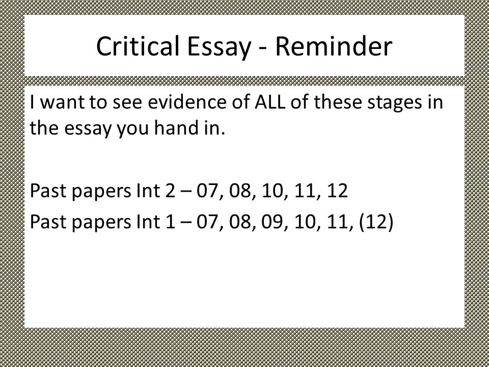critical essay questions intermediate 2