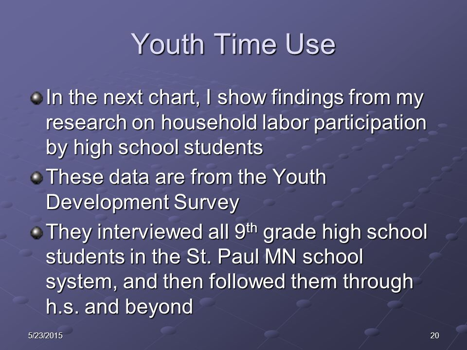Youth Time Use In the next chart, I show findings from my research on household labor participation by high school students These data are from the Youth Development Survey They interviewed all 9 th grade high school students in the St.