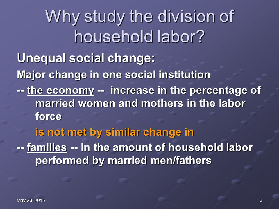 3May 23, 2015May 23, 2015May 23, 2015 Why study the division of household labor.