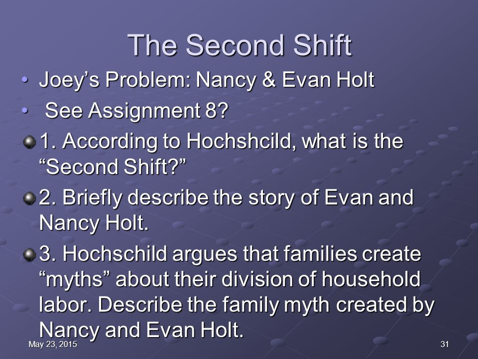 The Second Shift Joey's Problem: Nancy & Evan HoltJoey's Problem: Nancy & Evan Holt See Assignment 8.