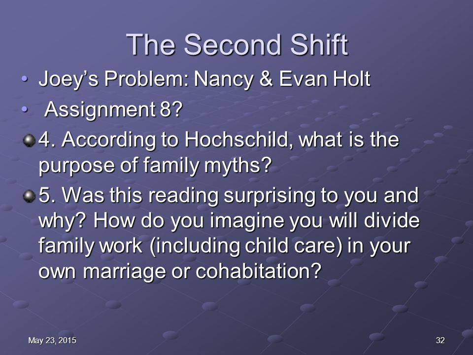 The Second Shift Joey's Problem: Nancy & Evan HoltJoey's Problem: Nancy & Evan Holt Assignment 8.
