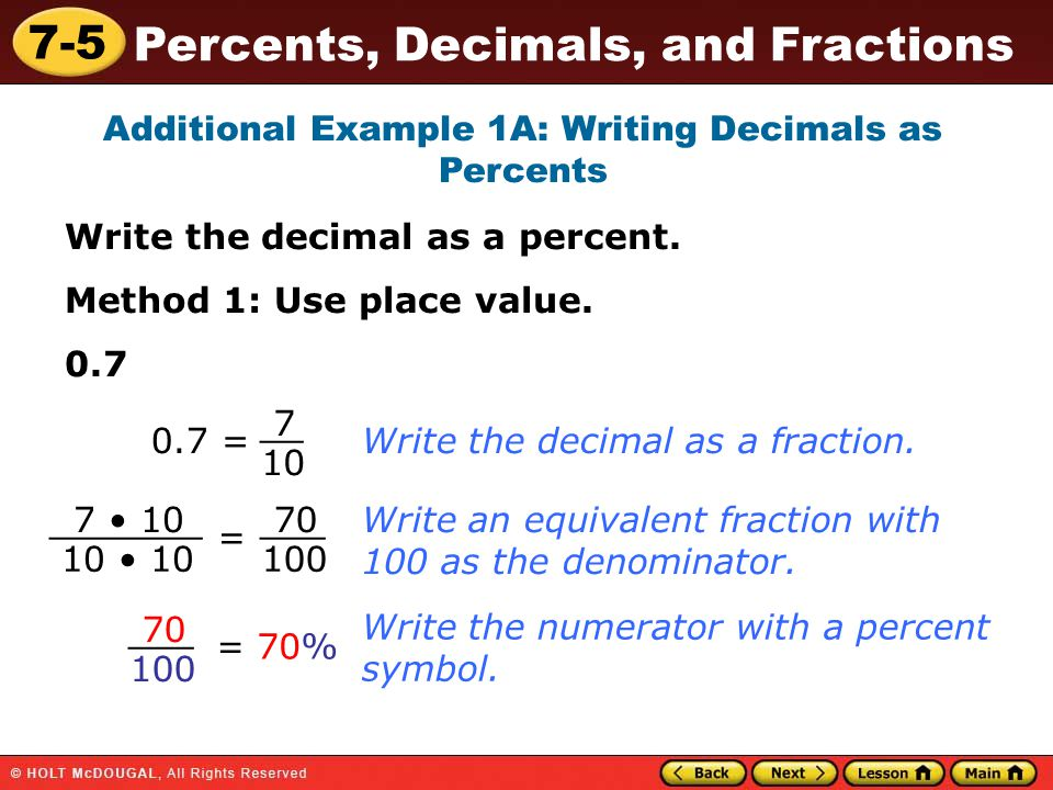 math worksheet : 7 5 percents decimals and fractions warm up warm up lesson  : Decimal Of The Day Worksheet