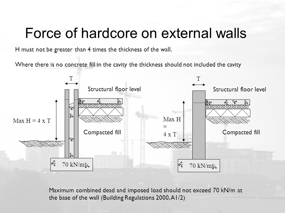 Force of hardcore on external walls Maximum combined dead and imposed load should not exceed 70 kN/m at the base of the wall (Building Regulations 2000, A1/2) H must not be greater than 4 times the thickness of the wall.
