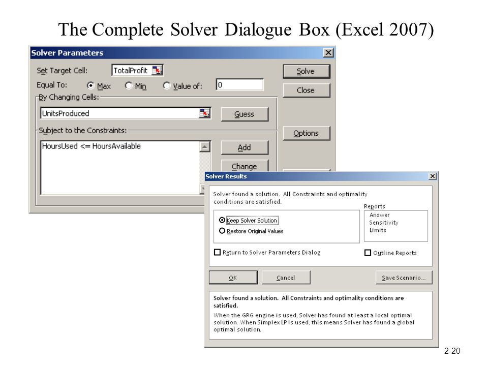 The Complete Solver Dialogue Box (Excel 2007) 2-20