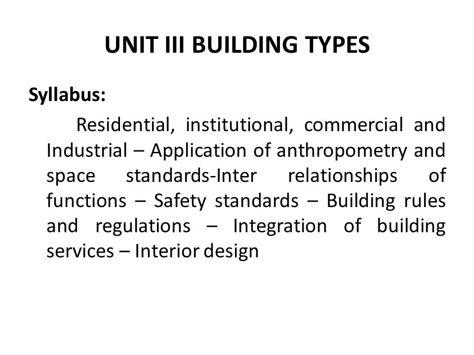 1 unit iii building types syllabus residential institutional commercial and industrial application of anthropometry and space standards inter - Interior Design Syllabus