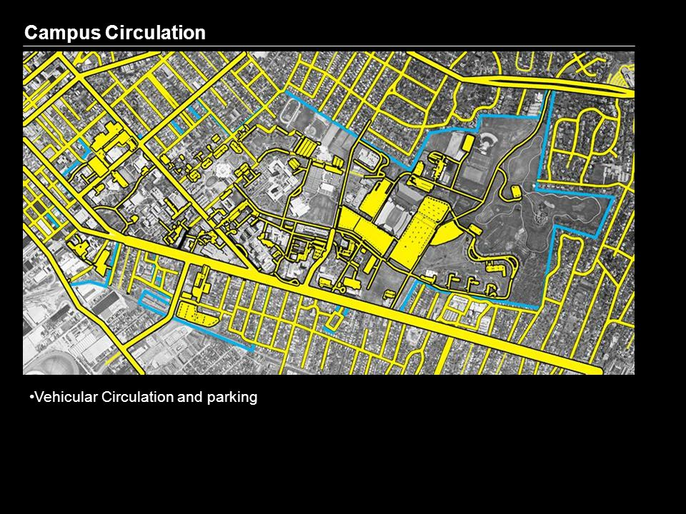 Campus Circulation Vehicular Circulation and parking Pedestrian Circulation Areas of Possible Pedestrian / Vehicle Conflict