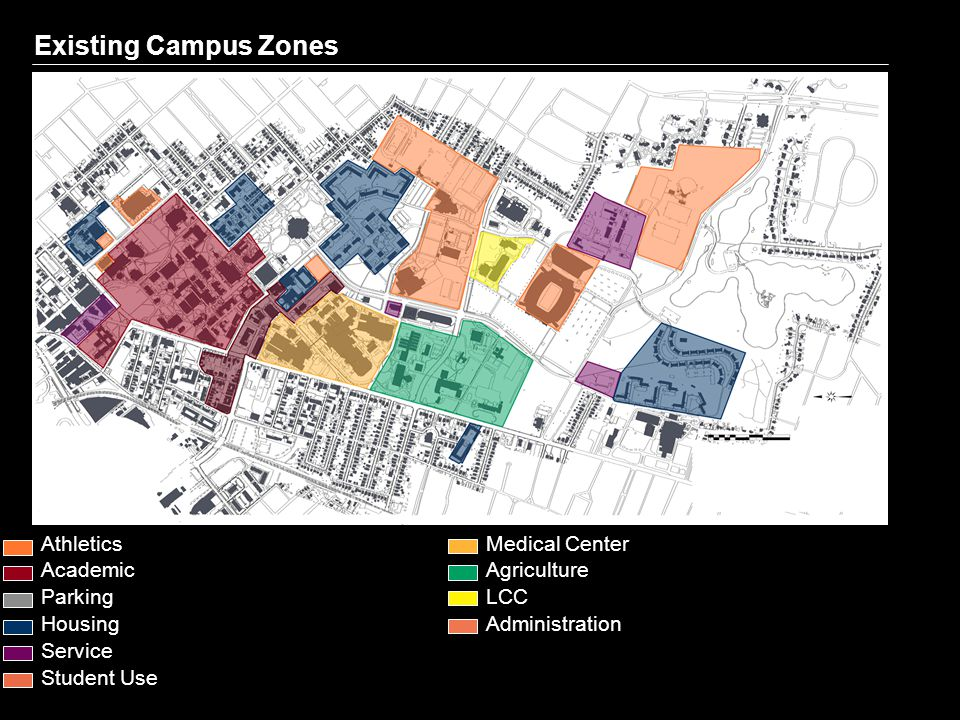 Existing Campus Zones Athletics Academic Parking Housing Service Student Use Medical Center Agriculture LCC Administration