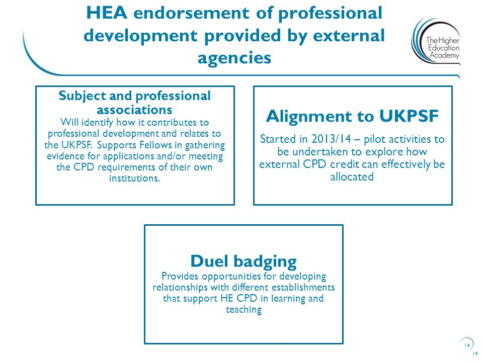 14 HEA endorsement of professional development provided by external agencies 14 Subject and professional associations Will identify how it contributes to professional development and relates to the UKPSF.
