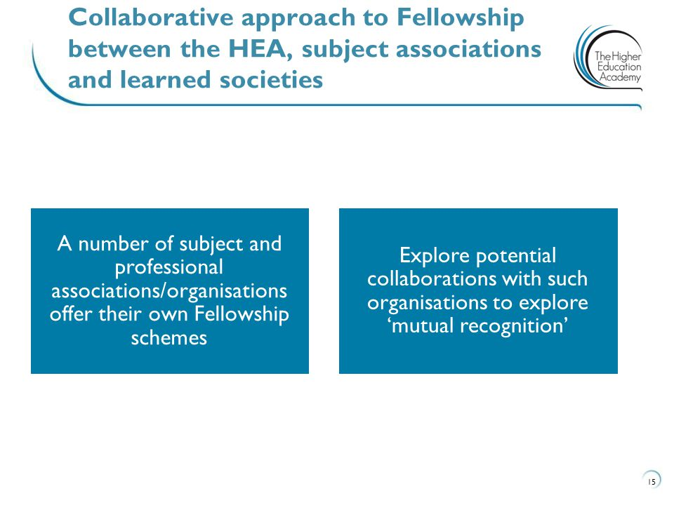 15 Collaborative approach to Fellowship between the HEA, subject associations and learned societies A number of subject and professional associations/organisations offer their own Fellowship schemes Explore potential collaborations with such organisations to explore 'mutual recognition'