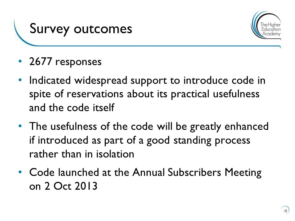 2677 responses Indicated widespread support to introduce code in spite of reservations about its practical usefulness and the code itself The usefulness of the code will be greatly enhanced if introduced as part of a good standing process rather than in isolation Code launched at the Annual Subscribers Meeting on 2 Oct Survey outcomes