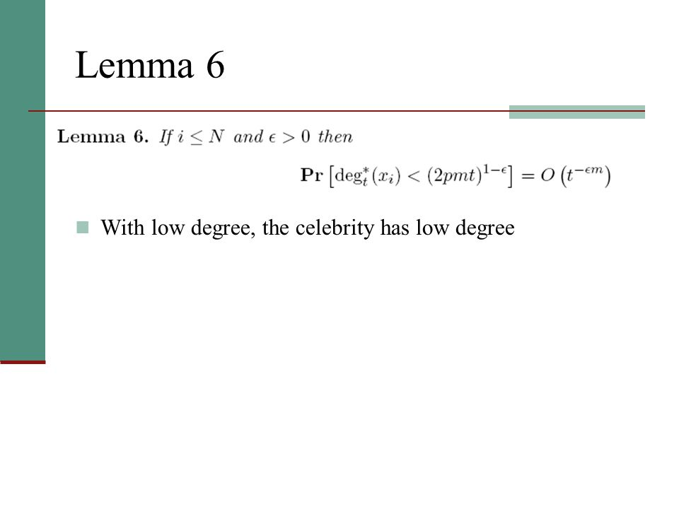 Lemma 6 With low degree, the celebrity has low degree