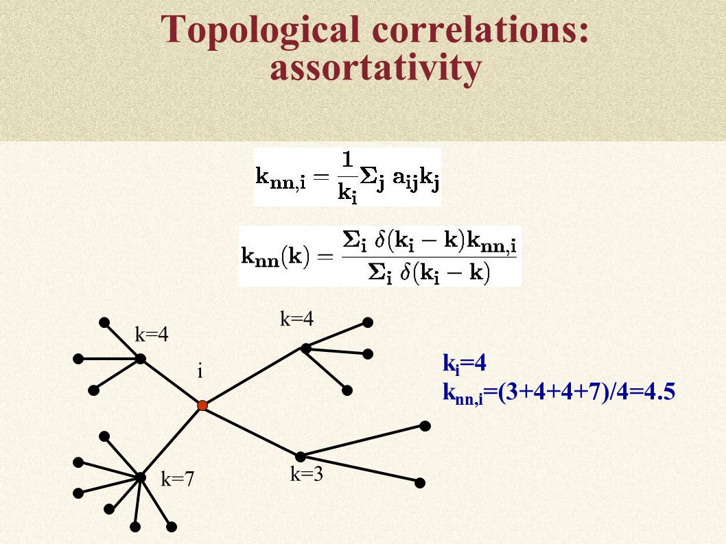 Topological correlations: assortativity k i =4 k nn,i =( )/4=4.5 i k=3 k=7 k=4