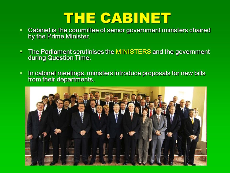 THE CABINET  Cabinet is the committee of senior government ministers chaired by the Prime Minister.