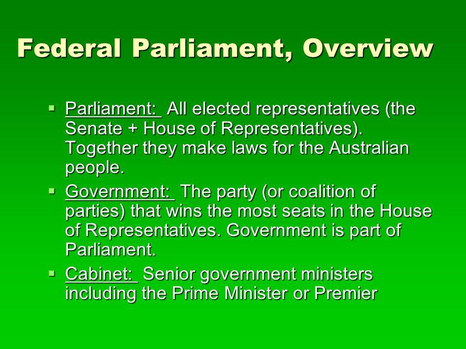  Parliament: All elected representatives (the Senate + House of Representatives).