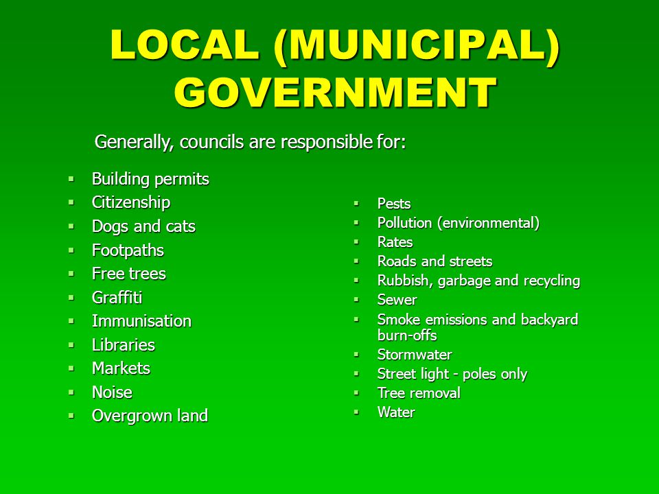 LOCAL (MUNICIPAL) GOVERNMENT  Building permits  Citizenship  Dogs and cats  Footpaths  Free trees  Graffiti  Immunisation  Libraries  Markets  Noise  Overgrown land  Pests  Pollution (environmental)  Rates  Roads and streets  Rubbish, garbage and recycling  Sewer  Smoke emissions and backyard burn-offs  Stormwater  Street light - poles only  Tree removal  Water Generally, councils are responsible for: