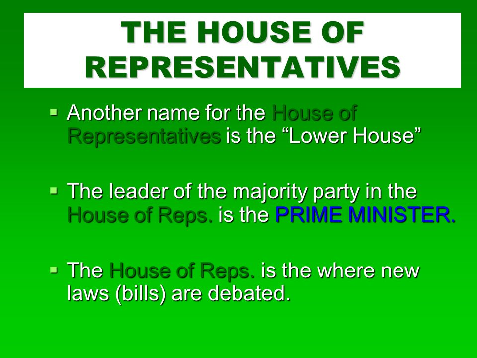  Another name for the House of Representatives is the Lower House  The leader of the majority party in the House of Reps.