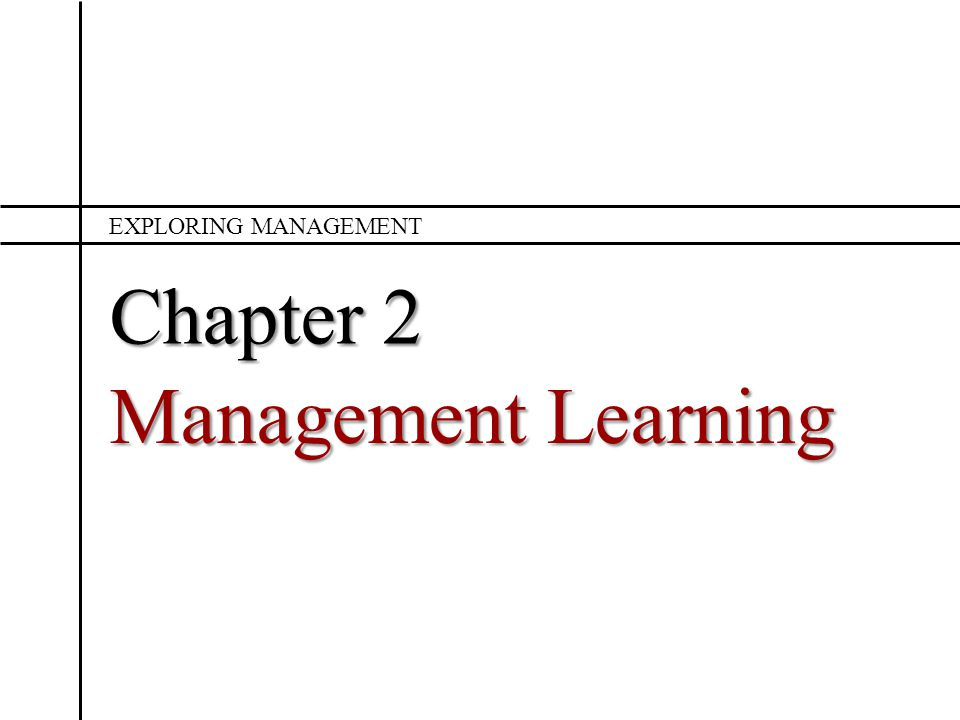 Chapter 2 Management Learning EXPLORING MANAGEMENT