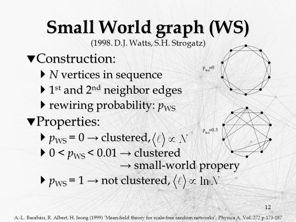 12 Small World graph (WS)  Construction:  N vertices in sequence  1 st and 2 nd neighbor edges  rewiring probability: p WS  Properties:  p WS = 0 → clustered,  0 < p WS < 0.01 → clustered → small-world propery  p WS = 1 → not clustered, A.-L.