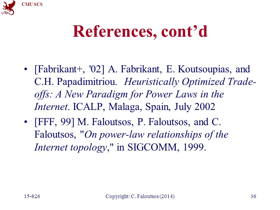 CMU SCS 36 References, cont'd [Fabrikant+, 02] A.