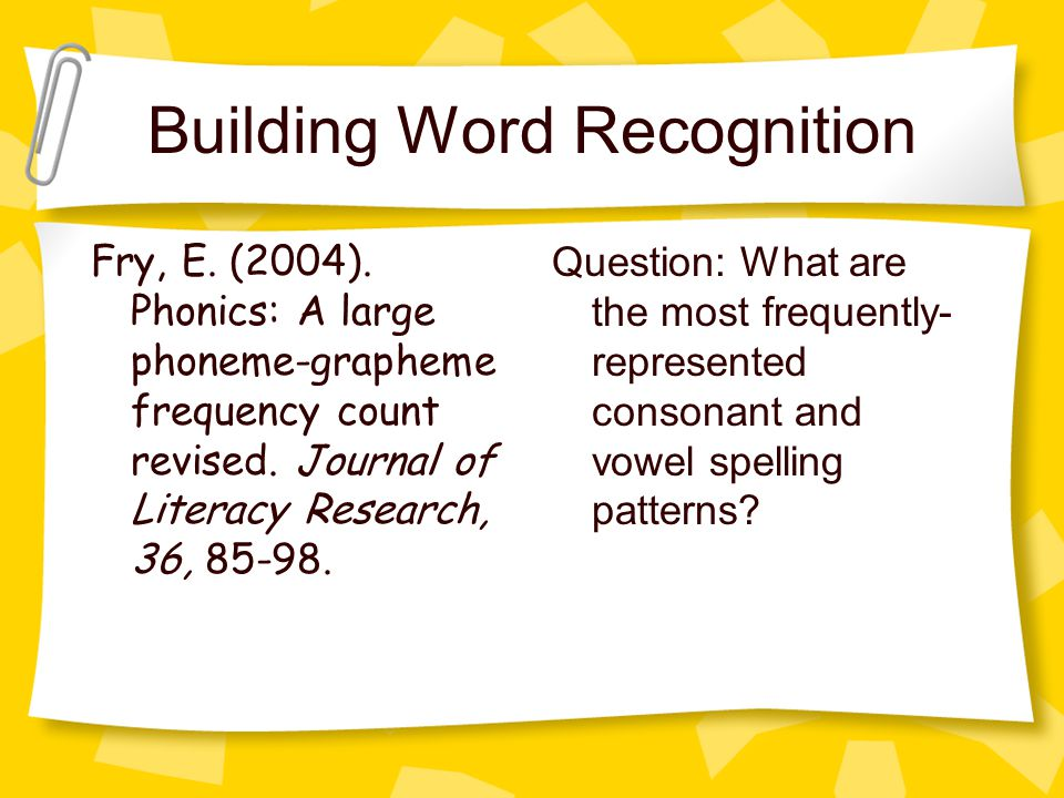 Building Word Recognition Fry, E. (2004).