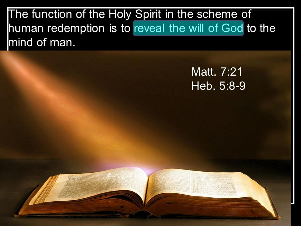 The function of the Holy Spirit in the scheme of human redemption is to reveal the will of God to the mind of man.