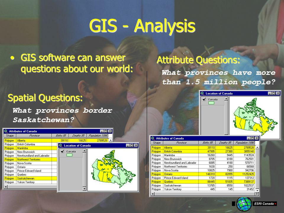GIS - Analysis GIS software can answer questions about our world:GIS software can answer questions about our world: What provinces border Saskatchewan.