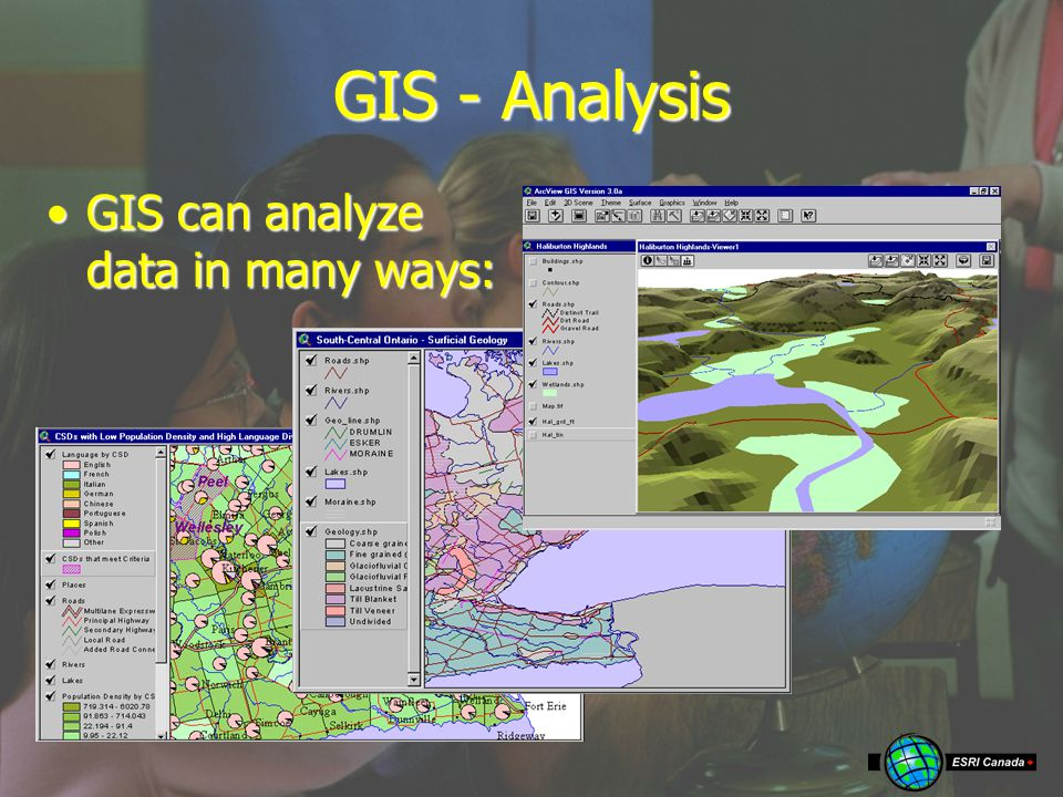 GIS - Analysis GIS can analyze data in many ways:GIS can analyze data in many ways: