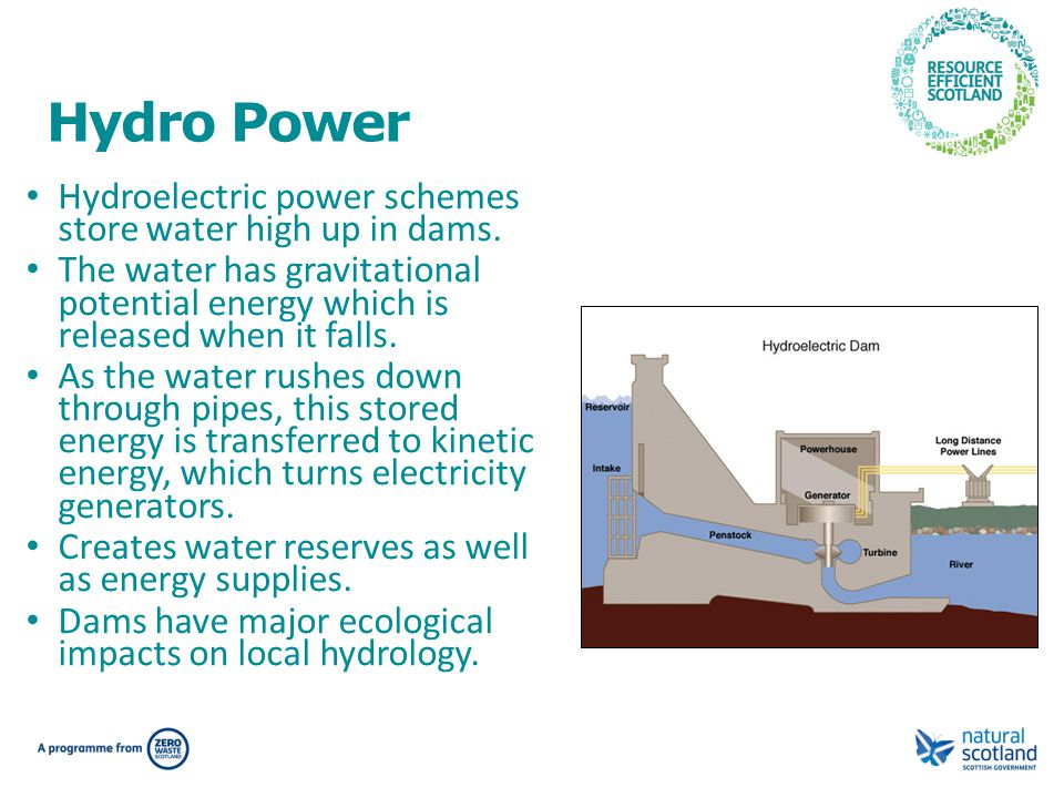 Hydro Power Hydroelectric power schemes store water high up in dams.