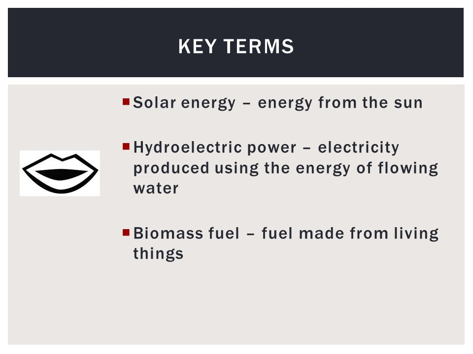  Solar energy – energy from the sun  Hydroelectric power – electricity produced using the energy of flowing water  Biomass fuel – fuel made from living things KEY TERMS