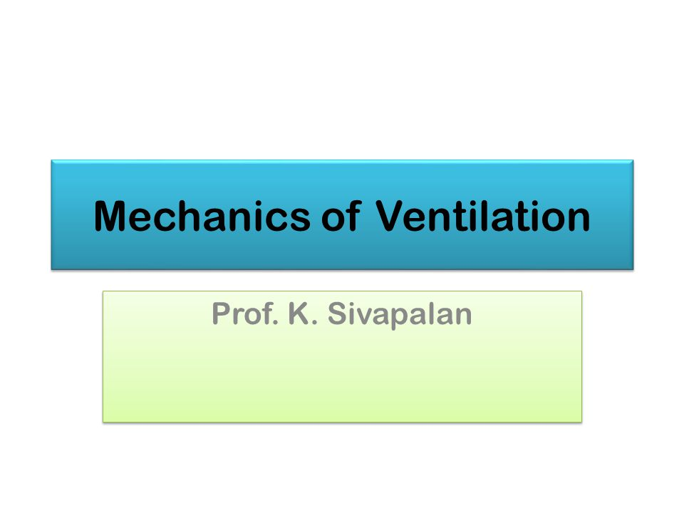 Mechanics of Ventilation Prof. K. Sivapalan