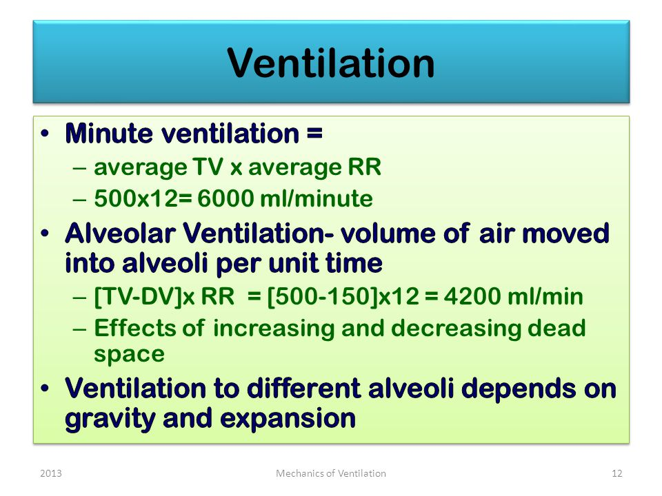Ventilation Mechanics of Ventilation