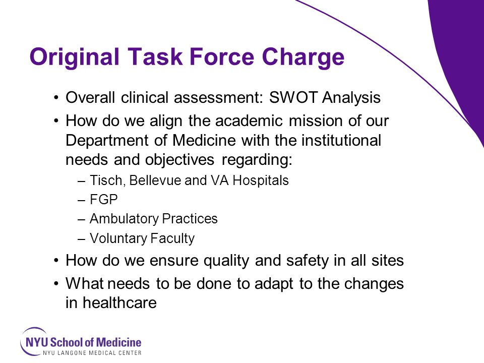 Department Of Medicine Clinical Task Force Report