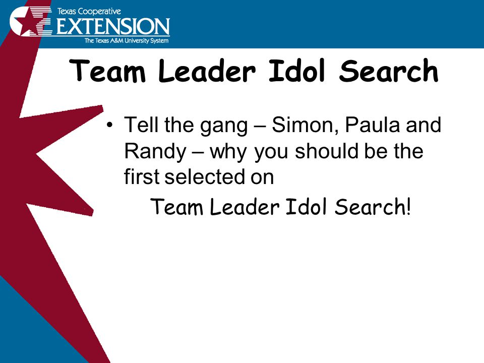 Team Leader Idol Search Tell the gang – Simon, Paula and Randy – why you should be the first selected on Team Leader Idol Search!