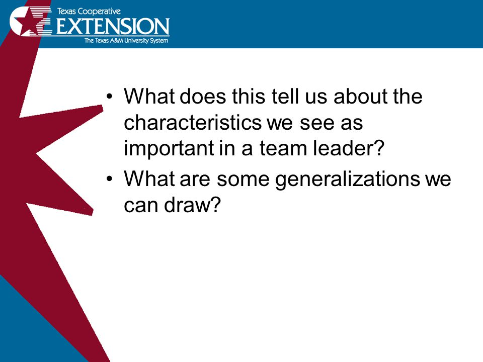 What does this tell us about the characteristics we see as important in a team leader? What are some generalizations we can draw?