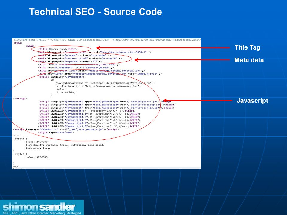 Technical SEO - Source Code Title Tag Javascript Meta data