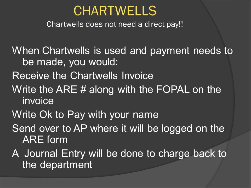 CHARTWELLS Chartwells does not need a direct pay!.