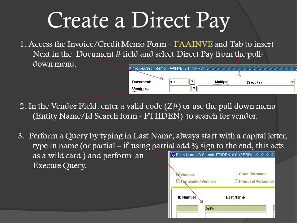 Create a Direct Pay 1.