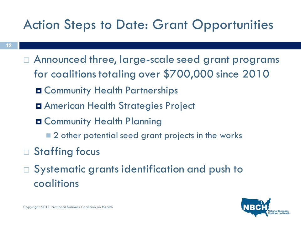 Copyright 2011 National Business Coalition on Health Action Steps to Date: Grant Opportunities  Announced three, large-scale seed grant programs for coalitions totaling over $700,000 since 2010  Community Health Partnerships  American Health Strategies Project  Community Health Planning 2 other potential seed grant projects in the works  Staffing focus  Systematic grants identification and push to coalitions 12