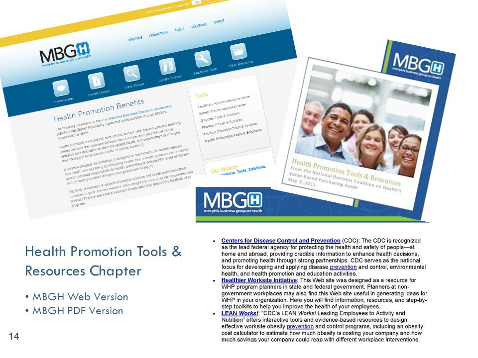 Health Promotion Tools & Resources Chapter MBGH Web Version MBGH PDF Version 14
