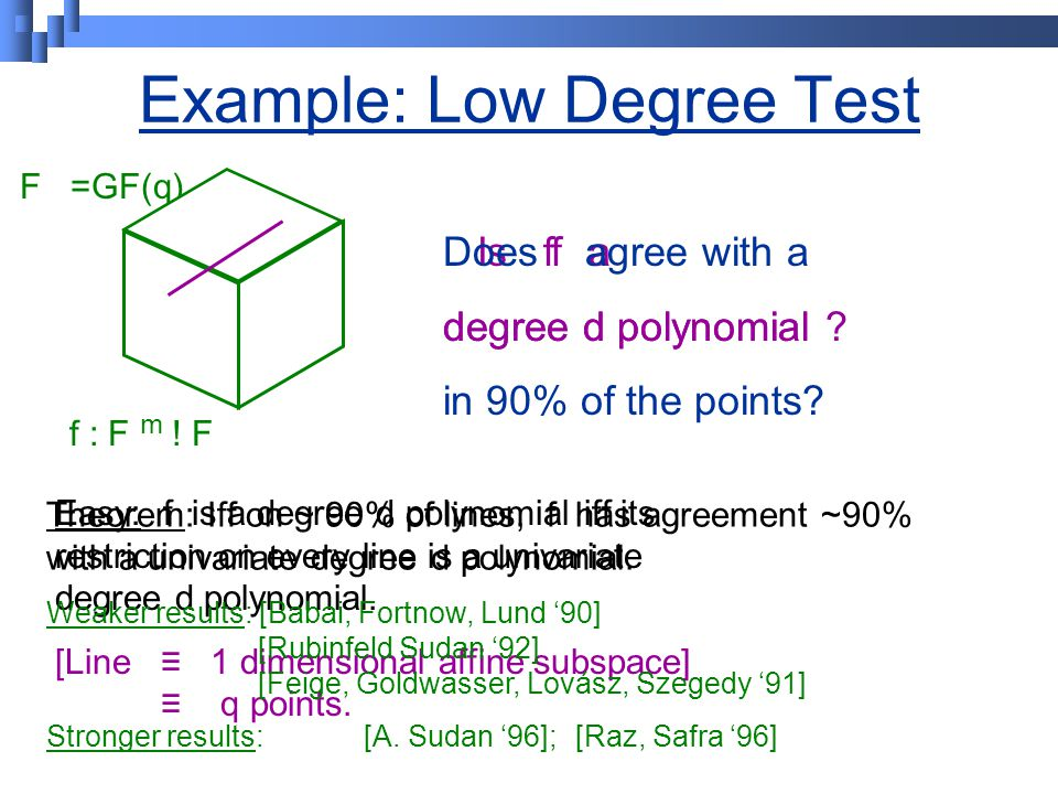 Example: Low Degree Test F =GF(q) f : F m . F Is f a degree d polynomial .