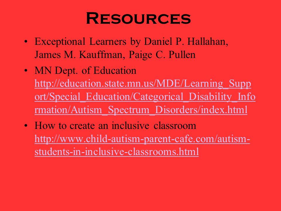 Resources Exceptional Learners by Daniel P. Hallahan, James M.