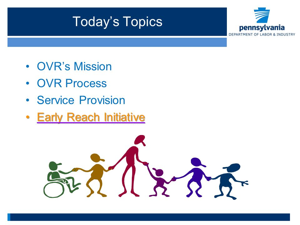 Today's Topics OVR's Mission OVR Process Service Provision Early Reach InitiativeEarly Reach Initiative