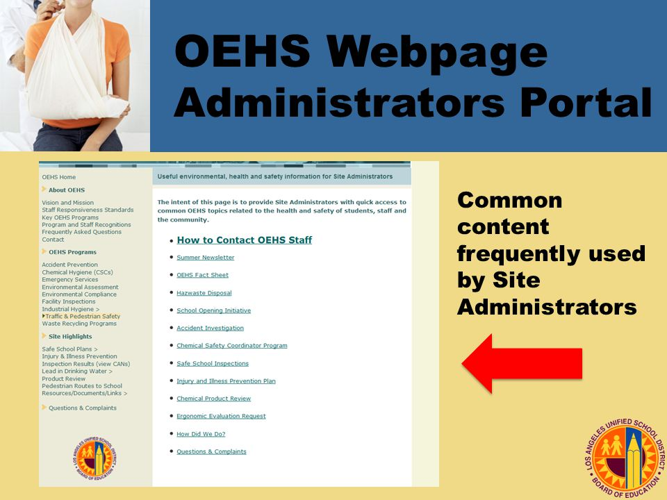 OEHS Webpage Administrators Portal Common content frequently used by Site Administrators