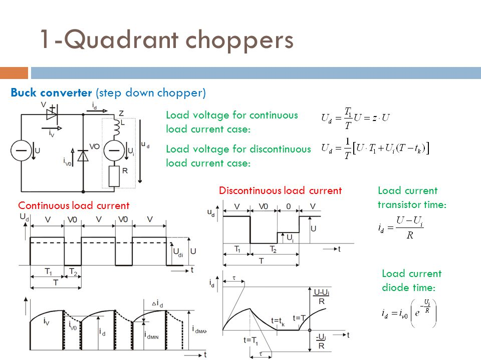 1-Quadrant choppers Buck converter (step down chopper) Continuous load current Discontinuous load current Load voltage for continuous load current case: Load voltage for discontinuous load current case: Load current transistor time: Load current diode time: