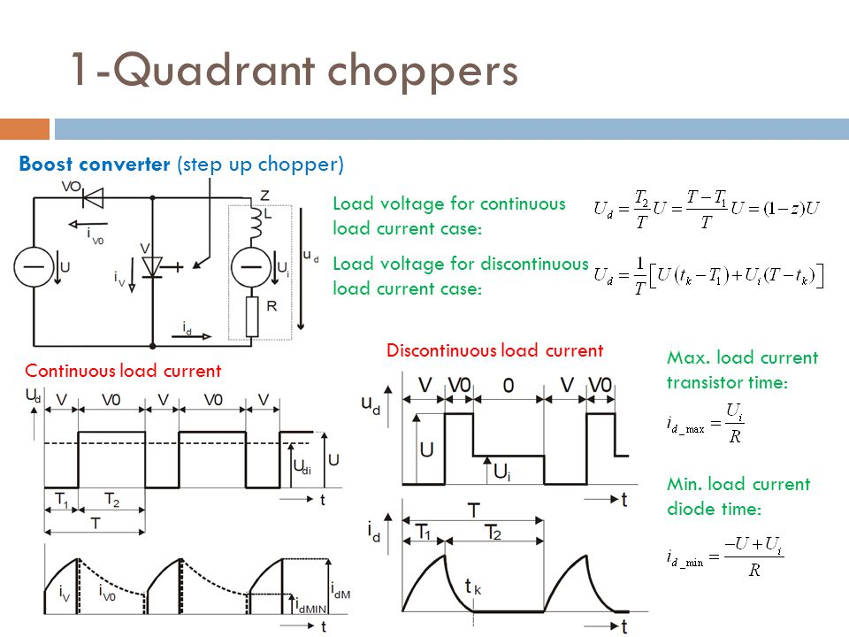 1-Quadrant choppers Boost converter (step up chopper) Continuous load current Discontinuous load current Load voltage for continuous load current case: Load voltage for discontinuous load current case: Max.