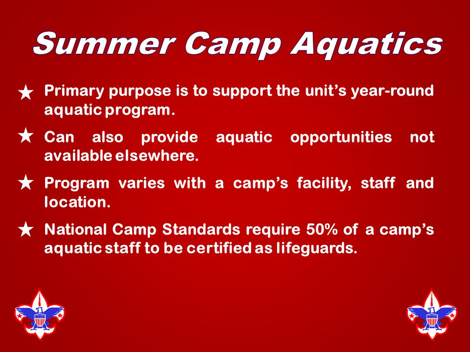 Primary purpose is to support the unit's year-round aquatic program.