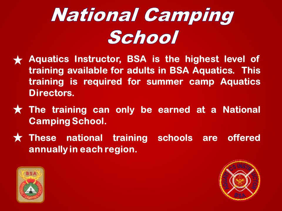 Aquatics Instructor, BSA is the highest level of training available for adults in BSA Aquatics.
