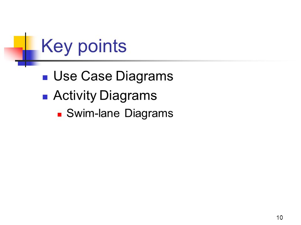 10 Key points Use Case Diagrams Activity Diagrams Swim-lane Diagrams