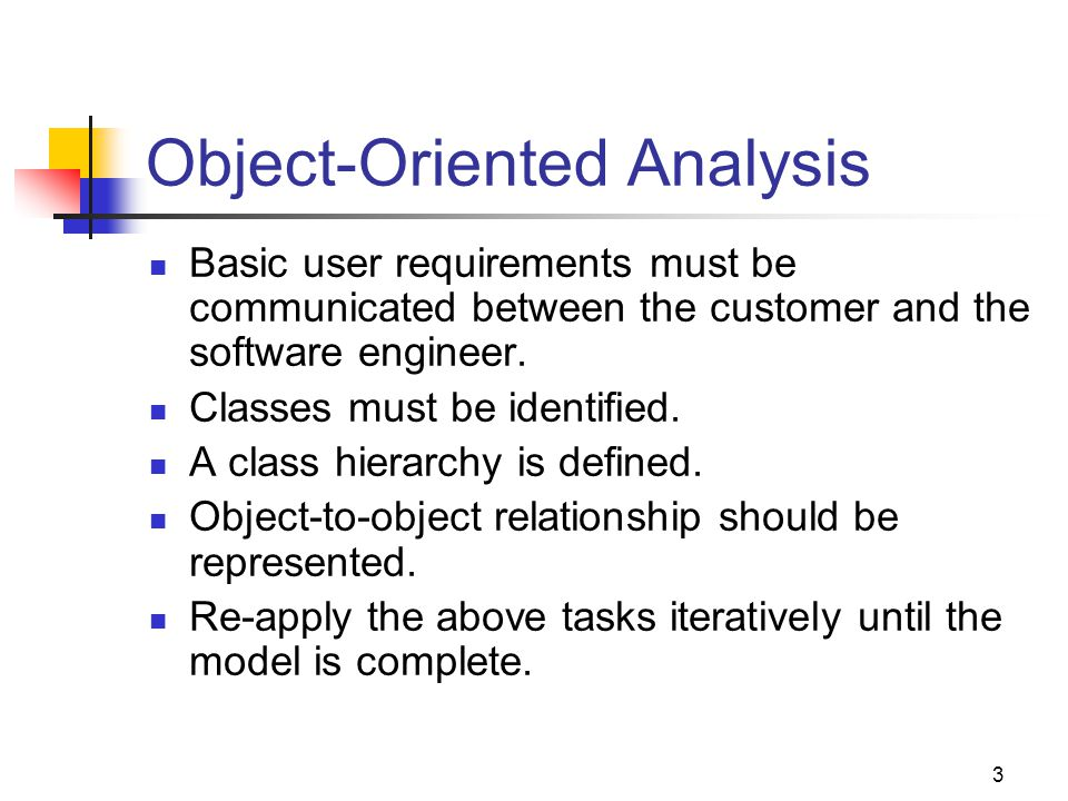 3 Object-Oriented Analysis Basic user requirements must be communicated between the customer and the software engineer.